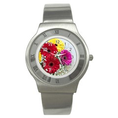 Flowers Gerbera Floral Spring Stainless Steel Watch by Nexatart