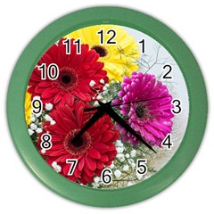 Flowers Gerbera Floral Spring Color Wall Clocks by Nexatart