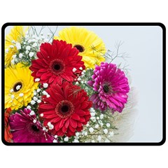Flowers Gerbera Floral Spring Double Sided Fleece Blanket (large)  by Nexatart