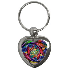 Eye Of The Rainbow Key Chains (heart)  by WolfepawFractals