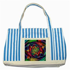 Eye Of The Rainbow Striped Blue Tote Bag by WolfepawFractals