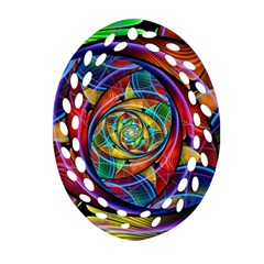 Eye Of The Rainbow Oval Filigree Ornament (two Sides) by WolfepawFractals