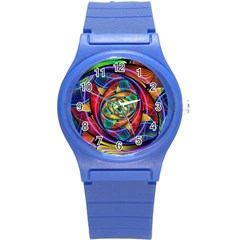 Eye Of The Rainbow Round Plastic Sport Watch (s) by WolfepawFractals