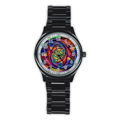 Eye Of The Rainbow Stainless Steel Round Watch by WolfepawFractals