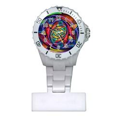 Eye Of The Rainbow Plastic Nurses Watch by WolfepawFractals