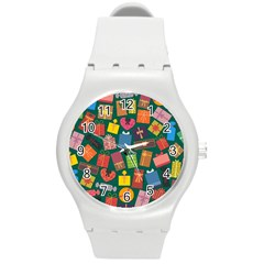 Presents Gifts Background Colorful Round Plastic Sport Watch (m) by Nexatart