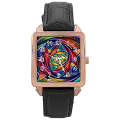 Eye Of The Rainbow Rose Gold Leather Watch  by WolfepawFractals