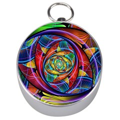 Eye Of The Rainbow Silver Compasses by WolfepawFractals