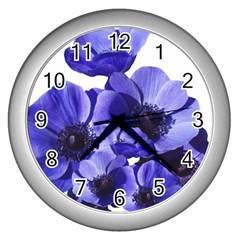 Poppy Blossom Bloom Summer Wall Clocks (silver)  by Nexatart