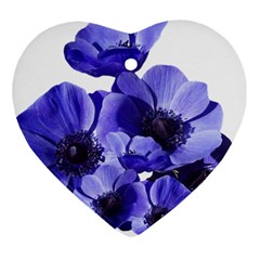 Poppy Blossom Bloom Summer Heart Ornament (two Sides) by Nexatart
