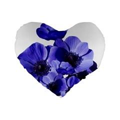 Poppy Blossom Bloom Summer Standard 16  Premium Flano Heart Shape Cushions by Nexatart