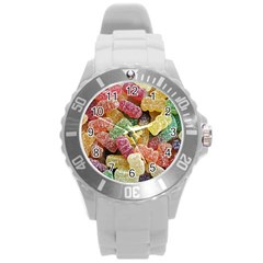 Jelly Beans Candy Sour Sweet Round Plastic Sport Watch (l) by Nexatart