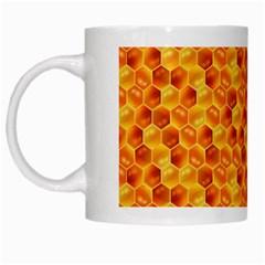 Honeycomb Pattern Honey Background White Mugs by Nexatart
