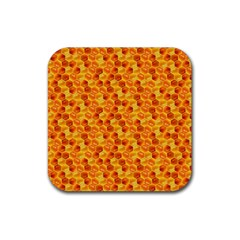 Honeycomb Pattern Honey Background Rubber Square Coaster (4 Pack)  by Nexatart
