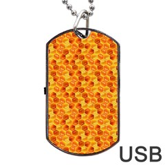 Honeycomb Pattern Honey Background Dog Tag Usb Flash (two Sides) by Nexatart