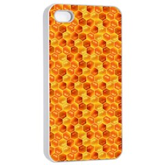 Honeycomb Pattern Honey Background Apple Iphone 4/4s Seamless Case (white) by Nexatart