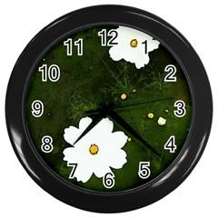 Daisies In Green Wall Clocks (black) by DeneWestUK