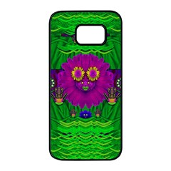 Summer Flower Girl With Pandas Dancing In The Green Samsung Galaxy S7 Edge Black Seamless Case by pepitasart