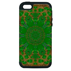 Summer Landscape In Green And Gold Apple Iphone 5 Hardshell Case (pc+silicone) by pepitasart