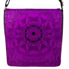 Purple Mandala Fashion Flap Messenger Bag (s) by pepitasart