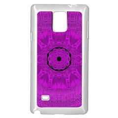 Purple Mandala Fashion Samsung Galaxy Note 4 Case (white) by pepitasart