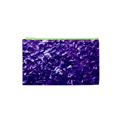 Natural Shimmering Purple Amethyst Mother of Pearl Nacre Cosmetic Bag (XS)