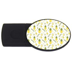 Pineapple Fruit And Juice Patterns Usb Flash Drive Oval (4 Gb) by TastefulDesigns