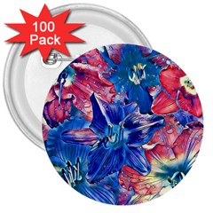 Wonderful Floral 22c 3  Buttons (100 Pack)  by MoreColorsinLife