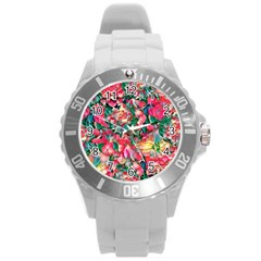 Wonderful Floral 24b Round Plastic Sport Watch (l) by MoreColorsinLife
