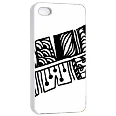 Feather Zentangle Apple Iphone 4/4s Seamless Case (white) by CraftyLittleNodes