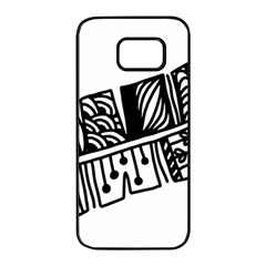 Feather Zentangle Samsung Galaxy S7 Edge Black Seamless Case by CraftyLittleNodes