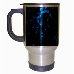Ocean Blue and Aqua Mother of Pearl Nacre Pattern Travel Mug (Silver Gray) by PodArtist