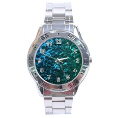 Ocean Blue and Aqua Mother of Pearl Nacre Pattern Stainless Steel Analogue Watch by PodArtist