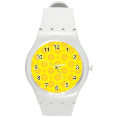 Cheese Background Round Plastic Sport Watch (m) by berwies