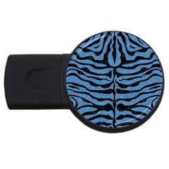 Skin2 Black Marble & Blue Colored Pencil (r) Usb Flash Drive Round (2 Gb) by trendistuff