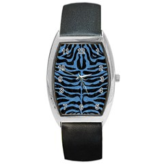 Skin2 Black Marble & Blue Colored Pencil Barrel Style Metal Watch by trendistuff