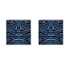 Skin2 Black Marble & Blue Colored Pencil Cufflinks (square) by trendistuff