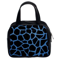 Skin1 Black Marble & Blue Colored Pencil (r) Classic Handbag (two Sides) by trendistuff