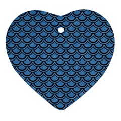 Scales2 Black Marble & Blue Colored Pencil (r) Ornament (heart) by trendistuff
