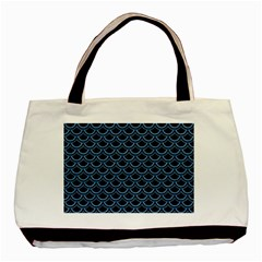 Scales2 Black Marble & Blue Colored Pencil Basic Tote Bag by trendistuff