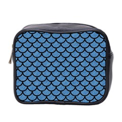 Scales1 Black Marble & Blue Colored Pencil (r) Mini Toiletries Bag (two Sides) by trendistuff