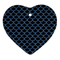 Scales1 Black Marble & Blue Colored Pencil Ornament (heart) by trendistuff