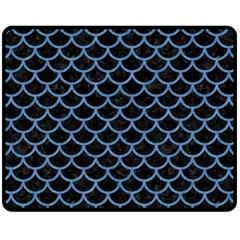 Scales1 Black Marble & Blue Colored Pencil Fleece Blanket (medium) by trendistuff