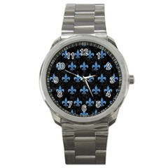 Royal1 Black Marble & Blue Colored Pencil (r) Sport Metal Watch by trendistuff
