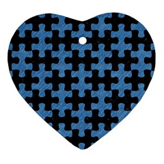 Puzzle1 Black Marble & Blue Colored Pencil Heart Ornament (two Sides) by trendistuff