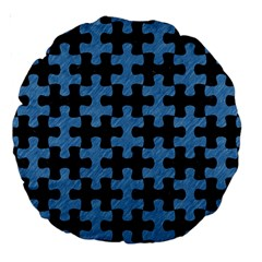 Puzzle1 Black Marble & Blue Colored Pencil Large 18  Premium Round Cushion  by trendistuff