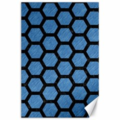 Hexagon2 Black Marble & Blue Colored Pencil (r) Canvas 24  X 36  by trendistuff