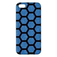 Hexagon2 Black Marble & Blue Colored Pencil (r) Iphone 5s/ Se Premium Hardshell Case by trendistuff