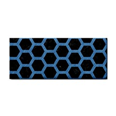 Hexagon2 Black Marble & Blue Colored Pencil Hand Towel by trendistuff