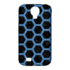 Hexagon2 Black Marble & Blue Colored Pencil Samsung Galaxy S4 Classic Hardshell Case (pc+silicone) by trendistuff
